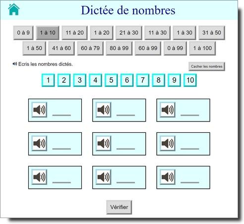 Dictée de nombres